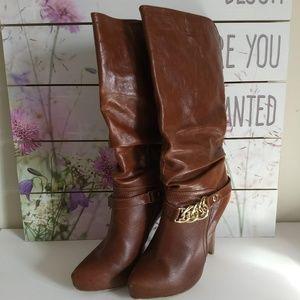 Fabulosity Knee High Platform Boots - Cognac